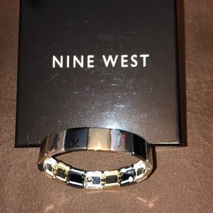 NEW Nine West Black Gold Silver Stretch Bracelet